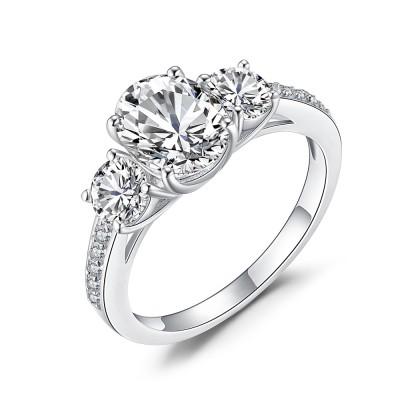 Ovale Schliff Zirkonia 925 Sterling Silber Verlobungsringe