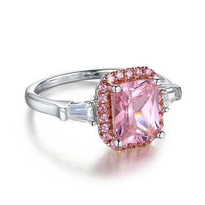 Radiant Schliff Rosa saphir 925 Sterling Silber Verlobungsringe