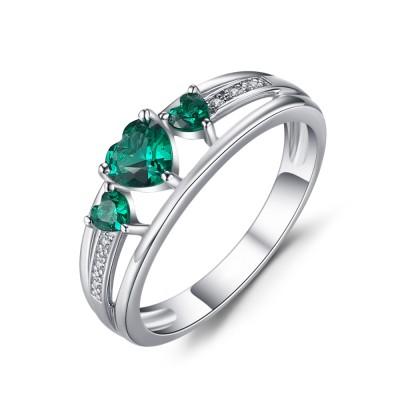 Herz Schliff Smaragd 925er Sterling Silber Verlobungsringe