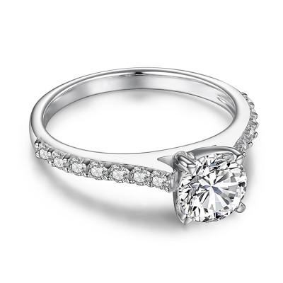 Klassischer RundSchliff aus Weißemem Saphir Sterling Silber Verlobungsringe