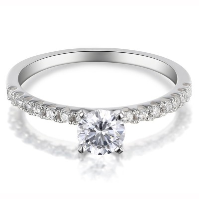 Weißemer Saphir Sterling Silber mit Rundschnitt Verlobungsringe