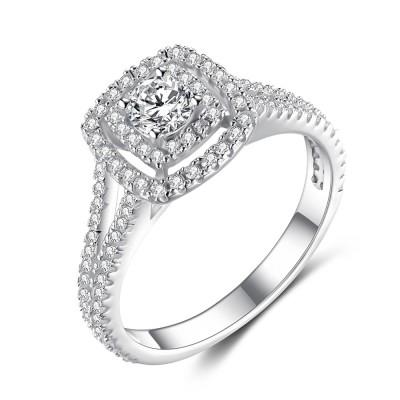 Erstaunlicher RundSchliff aus Weißemem Saphir 925 Sterling Silber Verlobungsringe