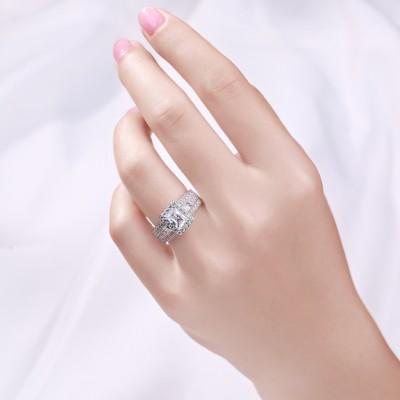 Radiant Schliff Weißem Saphir Sterling Silber Verlobungsringe