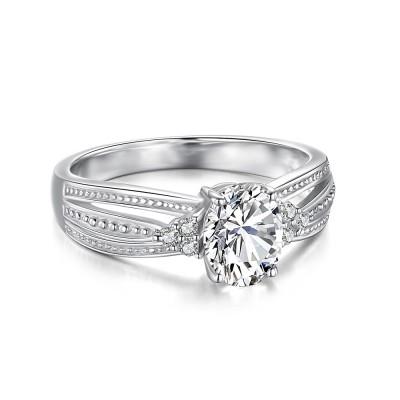 Weißemer Saphir mit 925 Sterling Silber im OvaleSchliff Verlobungsringe