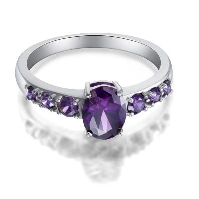 Damen Ovale Schliff Amethyst 925 Sterling Silber Verlobungsringe