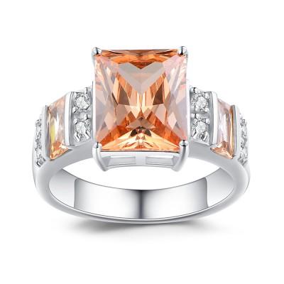 Princess Schliff 925 Sterling Silber Topas Verlobungsringe