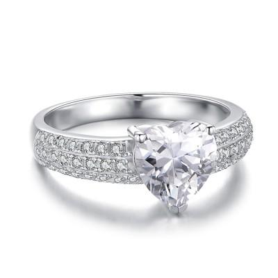 Herz Schliff Weißemer Saphir mit 925 Sterling Silber Verlobungsringe