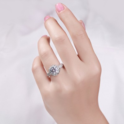 Weißemer Saphir Sterling Silber Verlobungsringe
