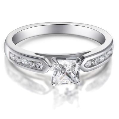 Princess Schliff Zirkonia 925 Sterling Silber Verlobungsringe
