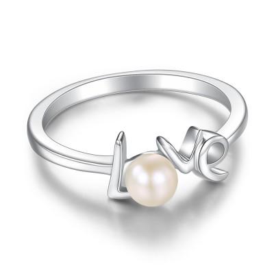 Runde Perle Liebe Sterling Silber Verlobungsringe