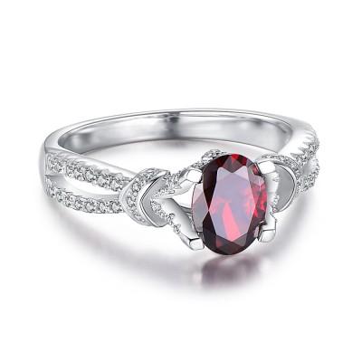 OvaleSchliff Granat 925 Sterling Silber BirthZirkonia Ringe