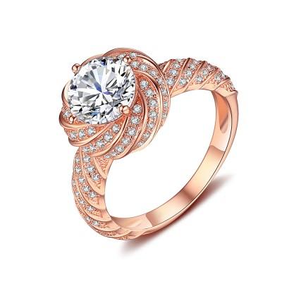 Runder Schliff Weißemer Saphir RoséGelbgold 925 Sterling Silber Verlobungsringe