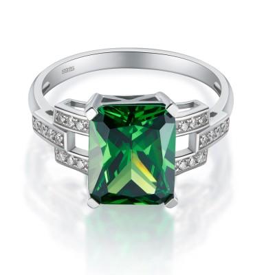 SmaragdSchliff Smaragd Zirkonia 925 Sterling Silber Verlobungsringe