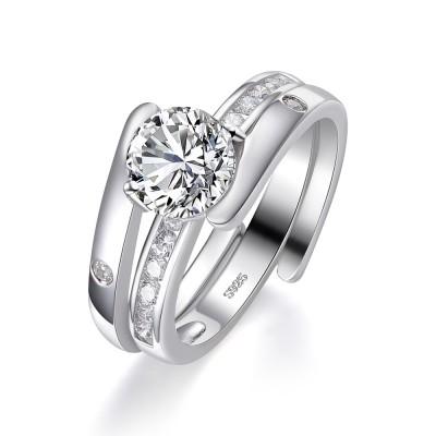 Einzigartiger runder Schliff aus Weißemem Saphir Sterling Silber Damen Bridal Ringe