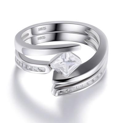 Princess Schliff Weißem Saphir 925 Sterling Silber Damenring