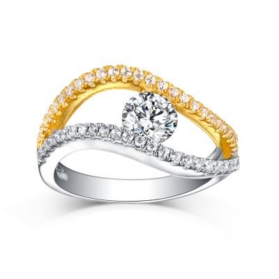 Runder Schliff aus Weißemem Saphir S925 Sterling Silber Gelbgold und Silber Ringe