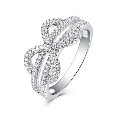 Runder Schliff aus Weißemem Saphir S925 Sterling Silber Infinity Ringe