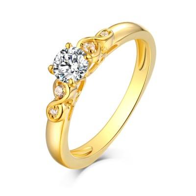 Runder Schliff Weißemer Saphir Gelbgold S925 Sterling Silber Infinity Ringe