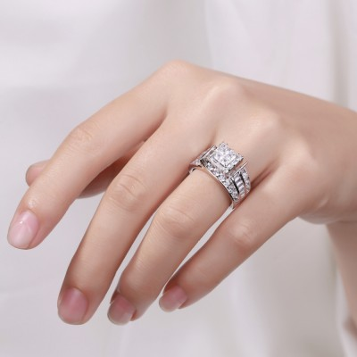Princess Schliff Weißem Saphir 925 Sterling Silber Verlobungsringe