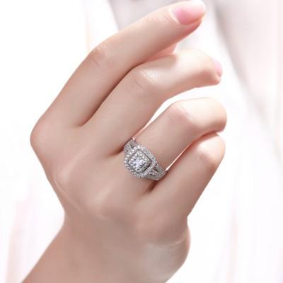 Princess Schliff Weißem Saphir 925 Sterling Silber Doppel Halo Verlobungsringe