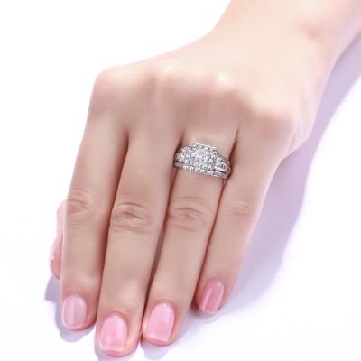 Princess Schliff Weißem Saphir 925 Sterling Silber Halo Verlobungsringe