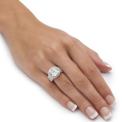 Cushion Schliff Weißer Saphir Sterling Silber Halo Verlobungsringe