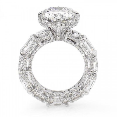 Strahlend Geschnittene Weißer Saphir 925 Sterling Silber Verlobungsring