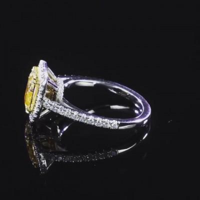 Kissenschliff Gelber Topas 925 Sterling Silber Halo Verlobungsringe