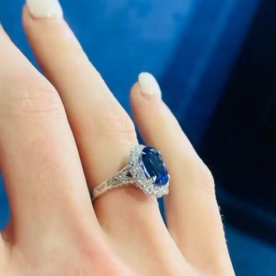 Ovale Schnitt Blauer Saphir  925 Sterling Silber Halo Verlobungsring