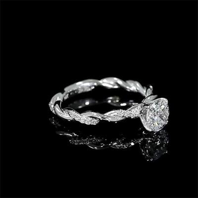 Rounder Schliff 925er Silber Sterling Zirkonia Klassische Verlobungsringe