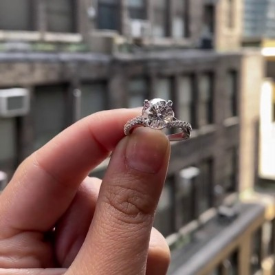Runder Schliff Weißer Saphir 925 Sterling Silber Unendlichkeit Verlobungsringe