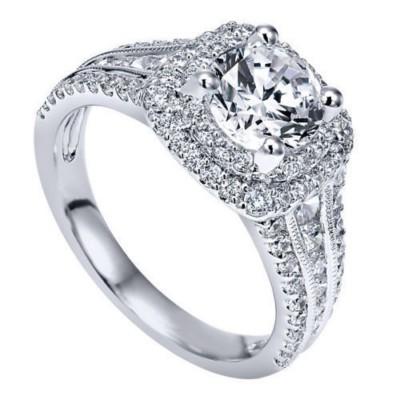 Runder Schliff Weißem Saphir 925 Sterling Silber Doppelte Halo Verlobungsringe