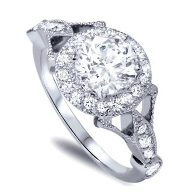 Runder Schliff Weißem Saphir 925 Sterling Silber Halo Verlobungsringe
