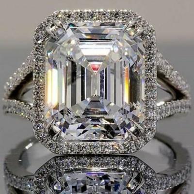 Smaragd Schliff Weißem Saphir 925 Sterling Silber Halo Verlobungsringe