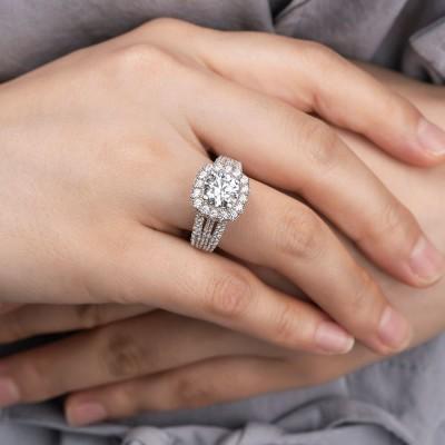 Runder Schnitt Weißer Saphir Silber 925 Halo Verlobungsringe
