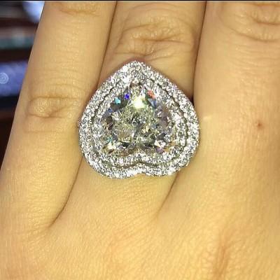 Herz Schliff  Weißer Saphir 925 Sterling Silber Doppelt Halo Ringe