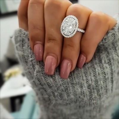 Oval Weißer Saphir Silber 925 Halo Verlobungsringe