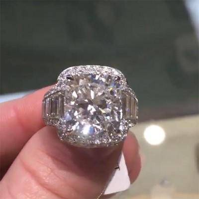 Kissenschliff Weißer Saphir 925 Sterling Silber Halo Verlobungsringe