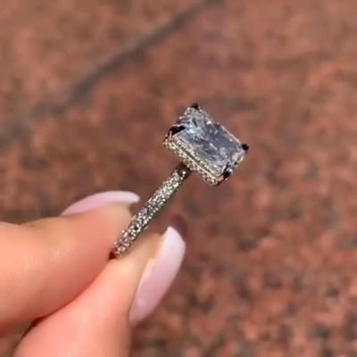 Strahlenden Schliff Weißem Saphir 925 Sterling Silber Verlobungsringe