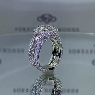 Runder Schliff Weißer Saphir 925 Sterling Silber Halo Verlobungsringe