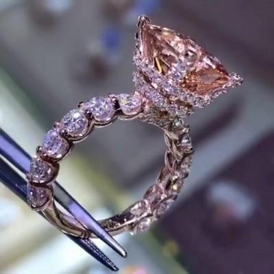 Strahlenden Schliff  Champagner Saphir 925 Sterling Silber Verlobungsringe