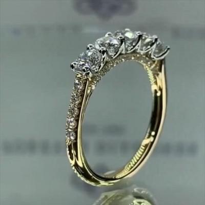 Runder Schliff Weißer Saphir 925 Sterling Silber Gold Verlobungsringe