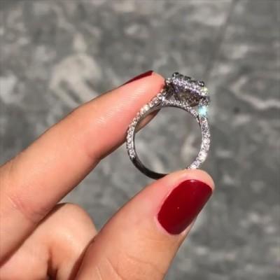 Strahlenden Schliff Weißer Saphir 925 Sterling Silber Halo Verlobungsringe