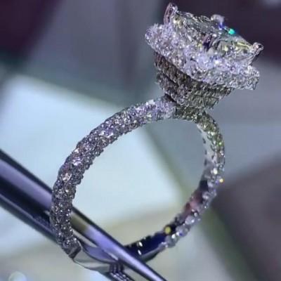 Prinzess Schliff Saphir 925 Sterling Silber Halo Verlobungsringe
