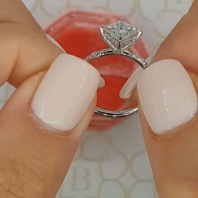 Prinzess Schliff Weißer Saphir 925 Sterling Silber Verlobungsringe