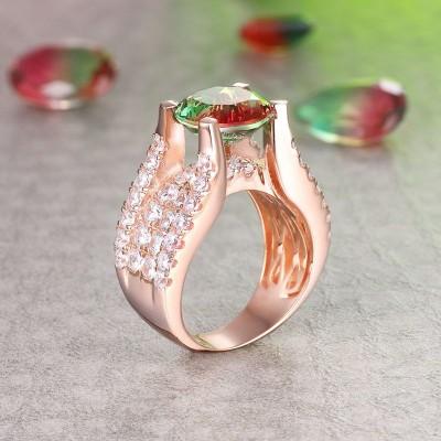 Runder Schliff Wassermelone 925 Sterling Silber Roségold Verlobungsringe