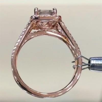 Strahlenden Schliff Rosa Saphir Roségold 925 Sterling Silber Halo Verlobungsringe