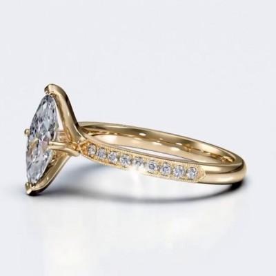 Marquise Schliff Weißer Saphir Gold 925 Sterling Silber Verlobungsringe