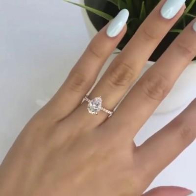 Birnenschliff Weißer Saphir 925 Sterling Silber Klassische Roségold Verlobungsringe