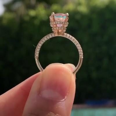 Ovale Schliff Rosa Saphir 925 Sterling Silber Klassisch Roségold Verlobungsringe